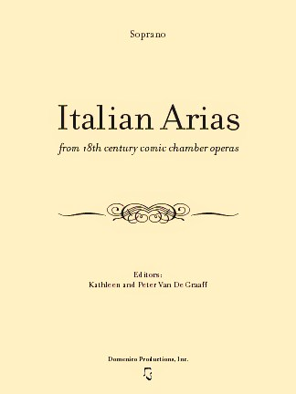 Italian Arias from 18th century comic chamber operas with CD Italian aria, soprano aria, opera aria, intermezzo